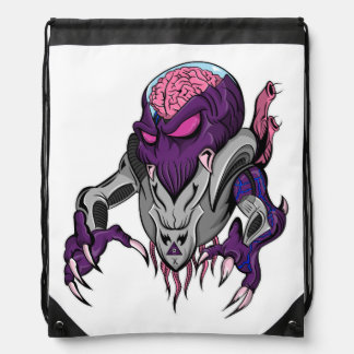 Brainiac Robotic Alien Drawstring Bag