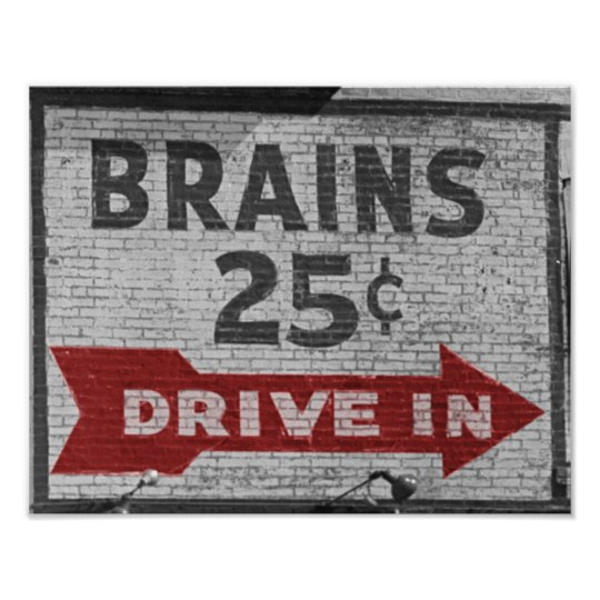 Brains 25 cents poster