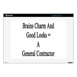 """Brains Charm And Good Looks Equals A General Contr Decals For 15"""" Laptops"""
