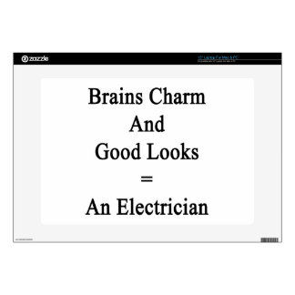 Brains Charm And Good Looks Equals An Electrician. Decal For Laptop
