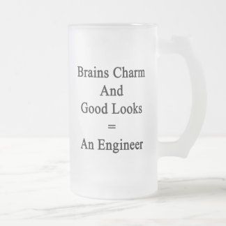 Brains Charm And Good Looks Equals An Engineer Frosted Glass Beer Mug