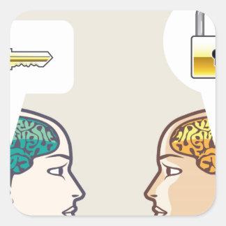Brains Lock and Key Square Sticker
