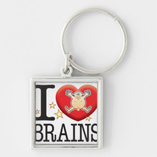Brains Love Man Silver-Colored Square Keychain