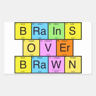Brains Over Brawn Rectangular Sticker