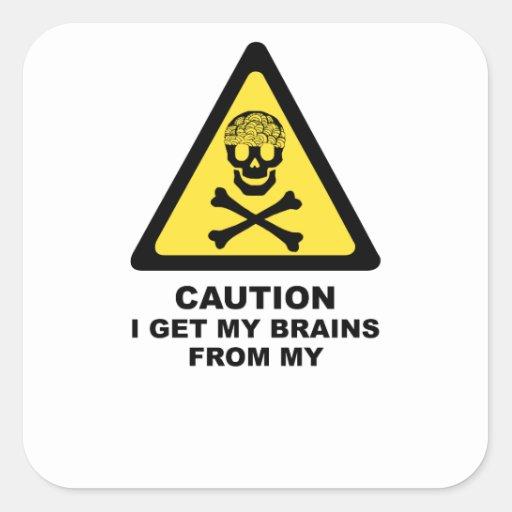 brains square sticker