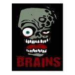 Brains zombie postcard
