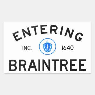 Braintree que entra pegatina rectangular