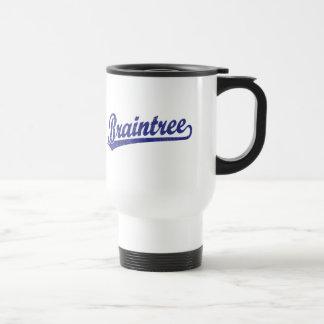 Braintree script logo in blue 15 oz stainless steel travel mug