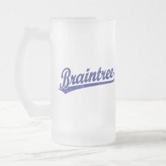 Braintree script logo in blue 16 oz frosted glass beer mug