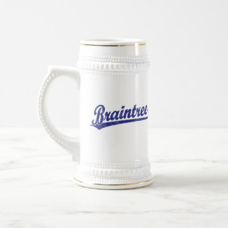 Braintree script logo in blue 18 oz beer stein
