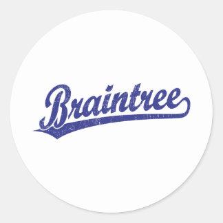 Braintree script logo in blue classic round sticker