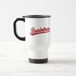 Braintree script logo in red 15 oz stainless steel travel mug