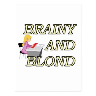 BRAINY AND BLOND SECRETARY POSTCARD