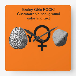 Brainy Girls Rock! Square Wall Clock
