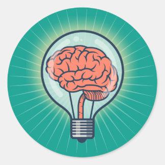 Brainy light bulb illustration classic round sticker
