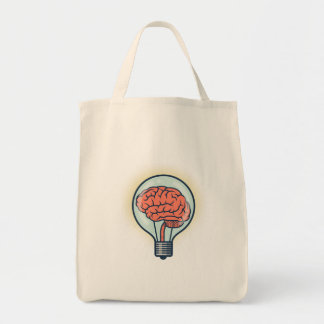 Brainy light bulb illustration tote bag