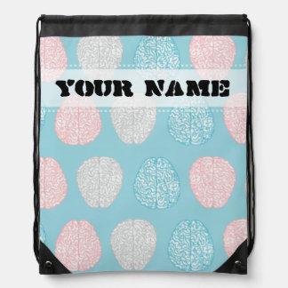 Brainy Pastel Pattern (Awesome Pastel Brains) Drawstring Bag