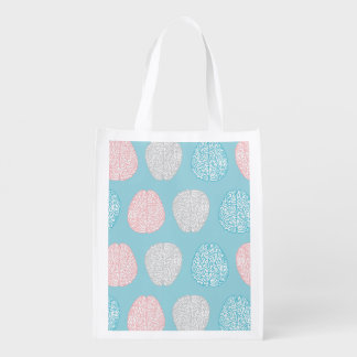 Brainy Pastel Pattern (Awesome Pastel Brains) Grocery Bag