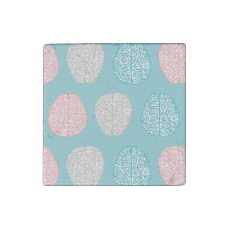 Brainy Pastel Pattern (Awesome Pastel Brains) Stone Magnet