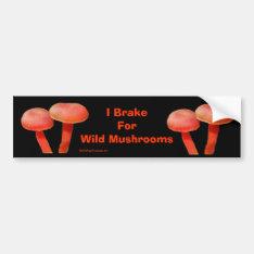 Brake For Mushrooms Funny Nature Bumper Sticker at Zazzle