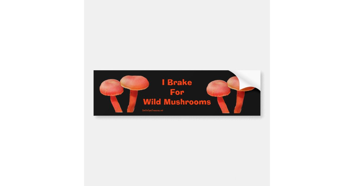 Brake for mushrooms funny nature bumper sticker zazzle com