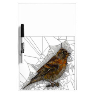 Bramble Finch Stained Glass Dry Erase Whiteboard
