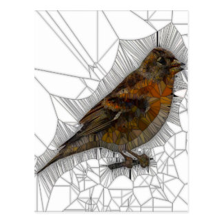 Bramble Finch Stained Glass Postcard