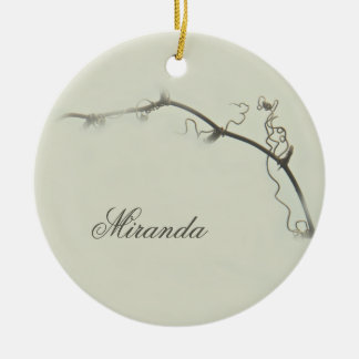 Bramble Tendrils in the Fog - Minimalism Double-Sided Ceramic Round Christmas Ornament