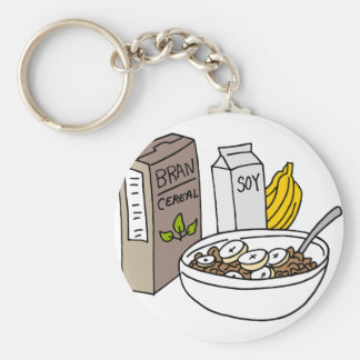 Bran cereal with bananas and soy milk basic round button keychain
