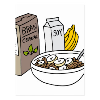 Bran cereal with bananas and soy milk postcard