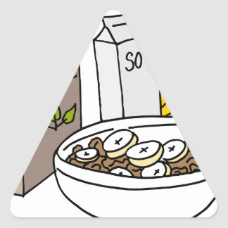 Bran cereal with bananas and soy milk triangle sticker