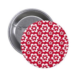 brancas de COM Flores del vermelho del padrão Pin Redondo De 2 Pulgadas