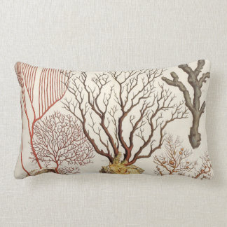 Branch Coral Nautical Beach Lumbar Throw Pillow