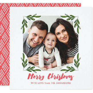 Branch Frame Script Christmas Photo Card Square