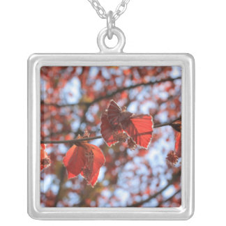 branch of an copper beech square pendant necklace