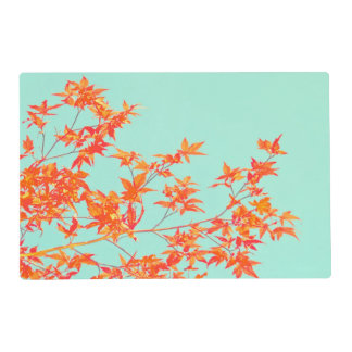 Branch of Orange Fall Leaves on Teal Placemat