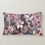 Branch of Pink Blossoms Spring Flowering Tree Lumbar Pillow