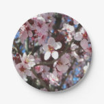Branch of Pink Blossoms Spring Flowering Tree Paper Plate