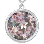 Branch of Pink Blossoms Spring Flowering Tree Round Pendant Necklace
