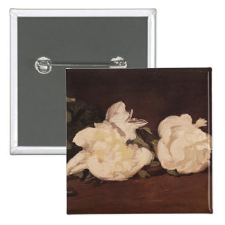 Branch of White Peonies and Secateurs, 1864 Pinback Button