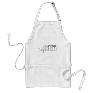 branch plants architecture drawing marries of prof adult apron