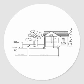 branch plants architecture drawing marries of prof classic round sticker