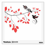 branch with cute birds wall decals coral and black