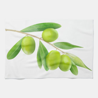 Branch with green olives towel