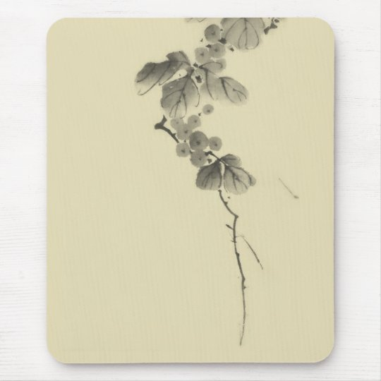 Branch with Leaves & Berries Hokusai Fine Art Mouse Pad