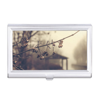 Branch with no leaves in rain business card holder