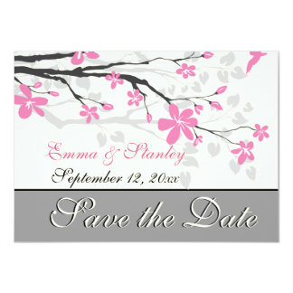 Branch with pink blossoms wedding Save the Date Card
