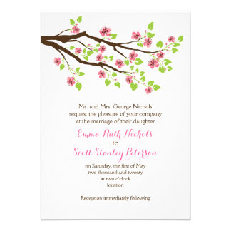 Branch with pink cherry blossoms spring wedding card