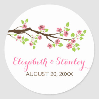 Branch with pink cherry blossoms spring wedding classic round sticker