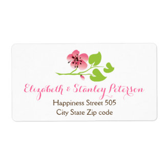 Branch with pink cherry blossoms spring wedding label